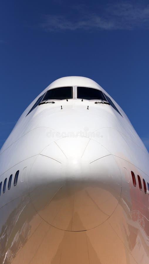 Jumbo Jet. A closeup of the nose of a jumbo jet stock photography