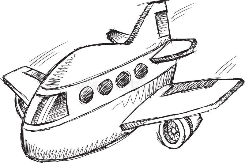 Jumbo Jet Doodle Vector stock illustrationer