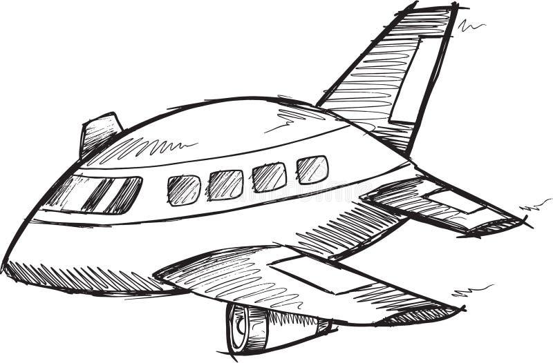 Jumbo Jet Doodle Vector vektor illustrationer