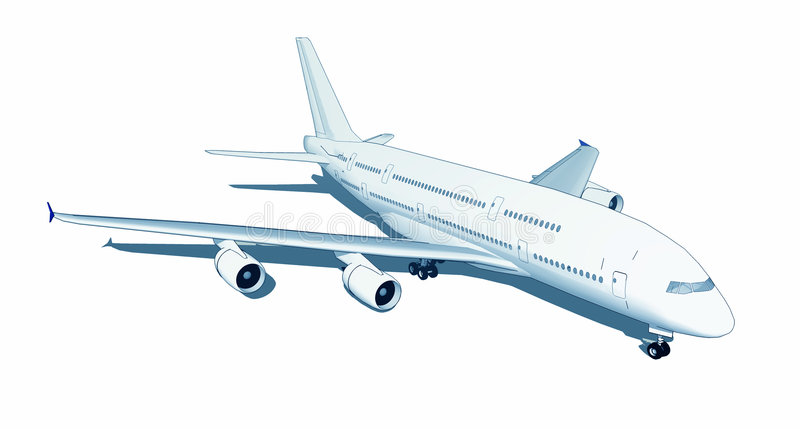 Jumbo jet isolated on white stock illustration