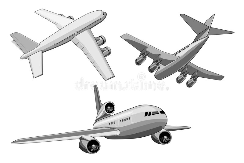 Jumbo jet plane 3 views vector illustration