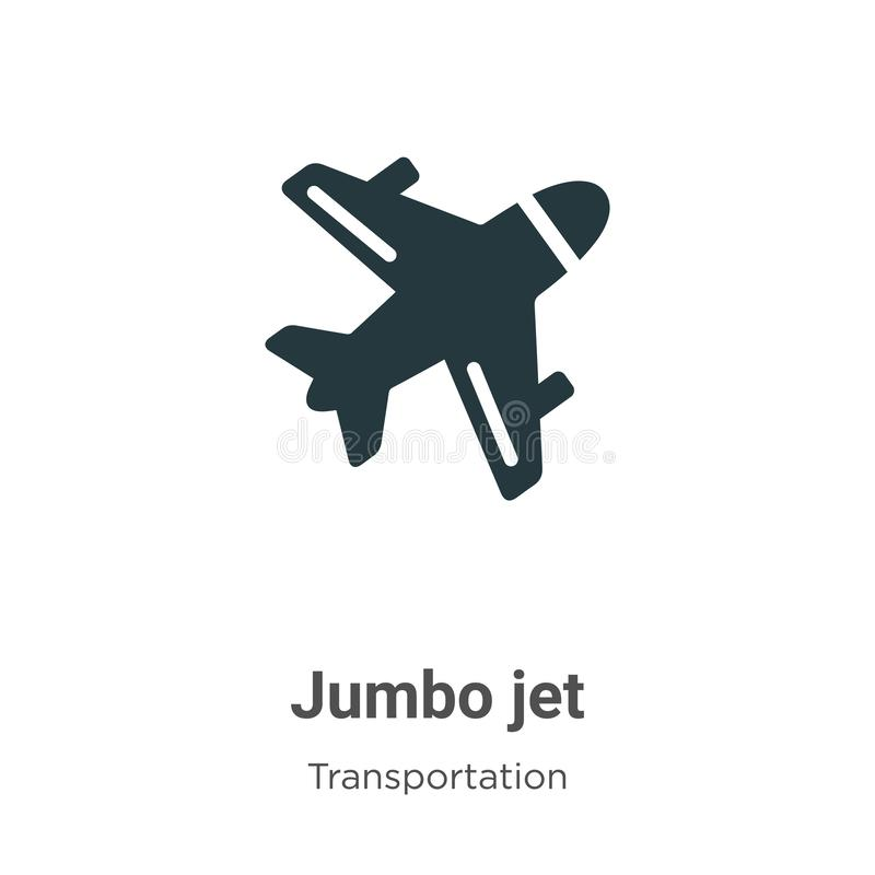 Jumbo jet vector icon on white background. Flat vector jumbo jet icon symbol sign from modern transportation collection for mobile stock illustration