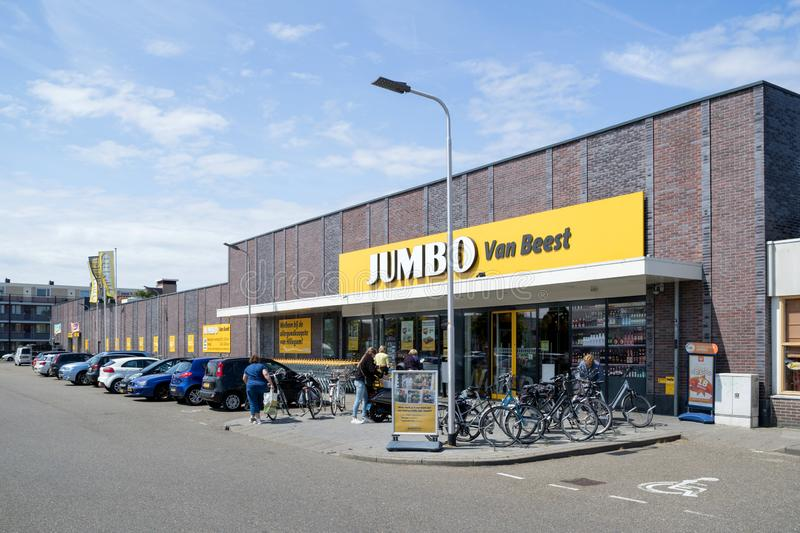 Jumbo supermarket in Hillegom, The Netherlands. Jumbo is the second-largest supermarket chain in the Netherlands stock image