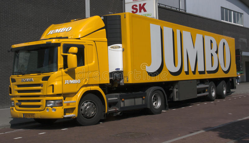 Jumbo truck transporting food to a supermarket royalty free stock images