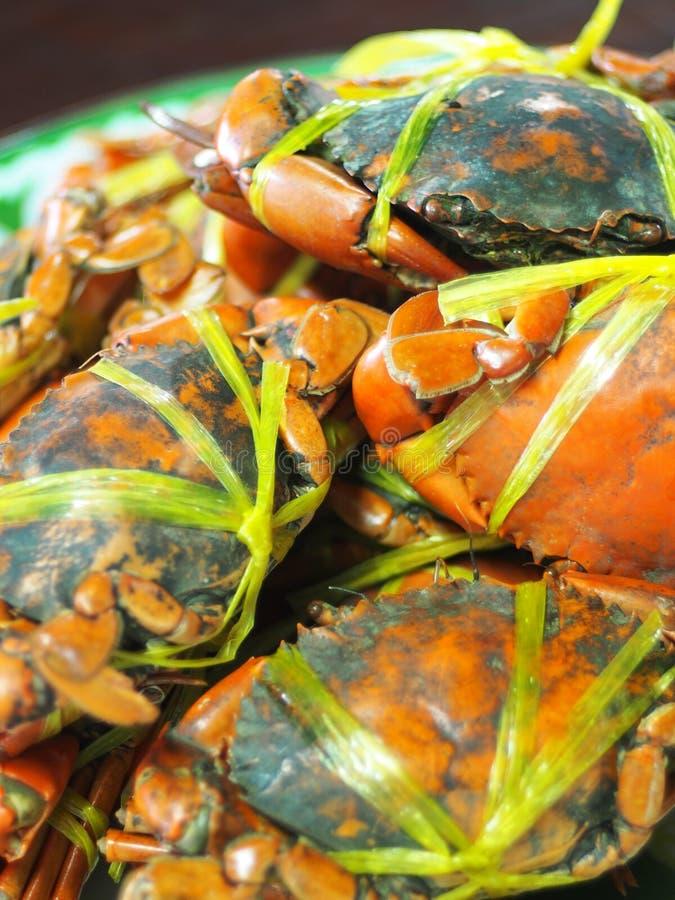 Jumboformatet kokade lagade mat havskrabbor i orange färgtidvatten med det gula plast- repet royaltyfria foton