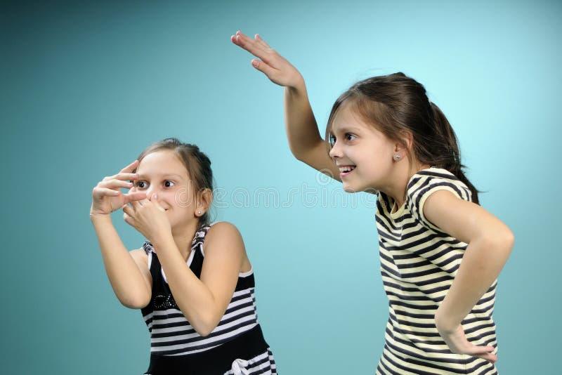Jumeaux blancs ayant l'amusement photographie stock