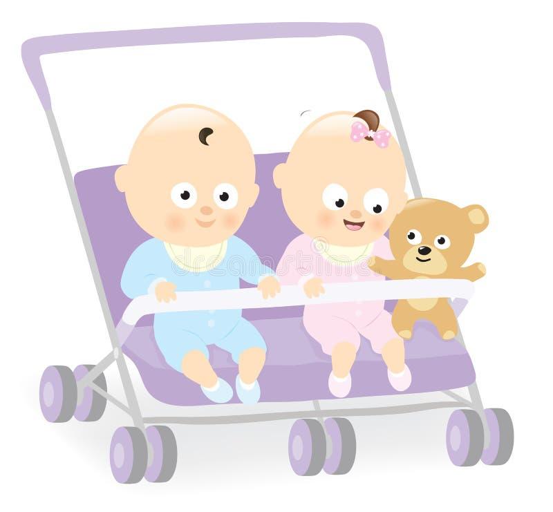 Jumeaux de bébé dans la poussette avec l'ours de nounours illustration de vecteur