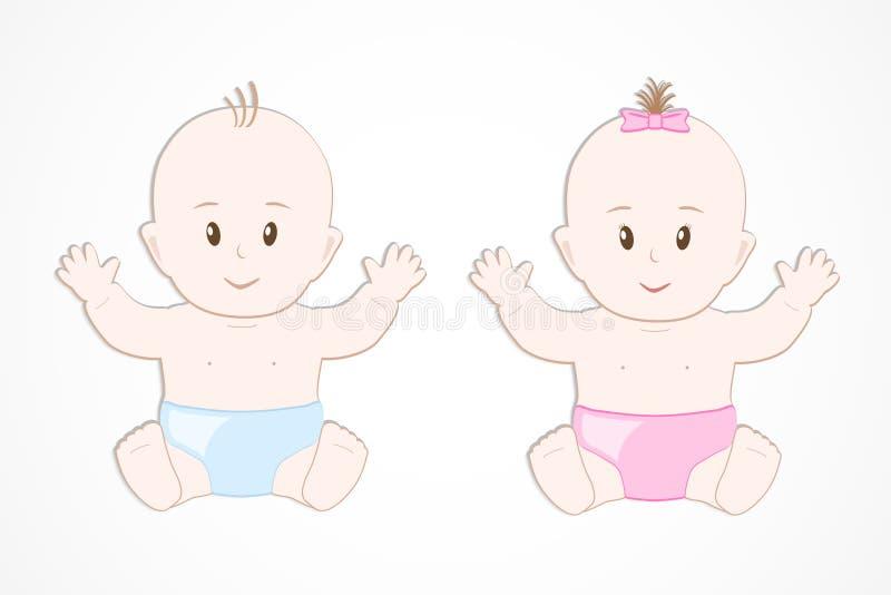 Jumeaux de sourire mignons de bébé Séance de bébé garçon et de fille illustration de vecteur