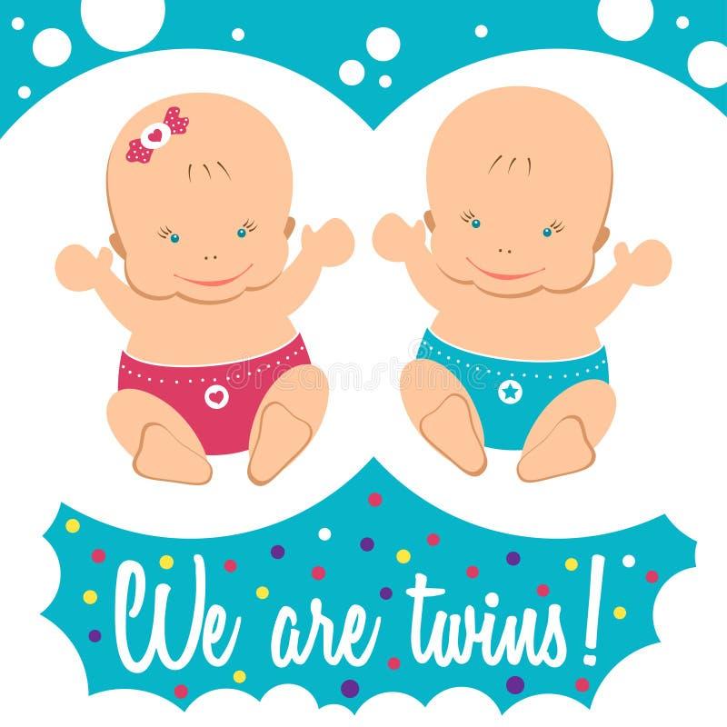 Jumeaux heureux Garçon et fille illustration stock