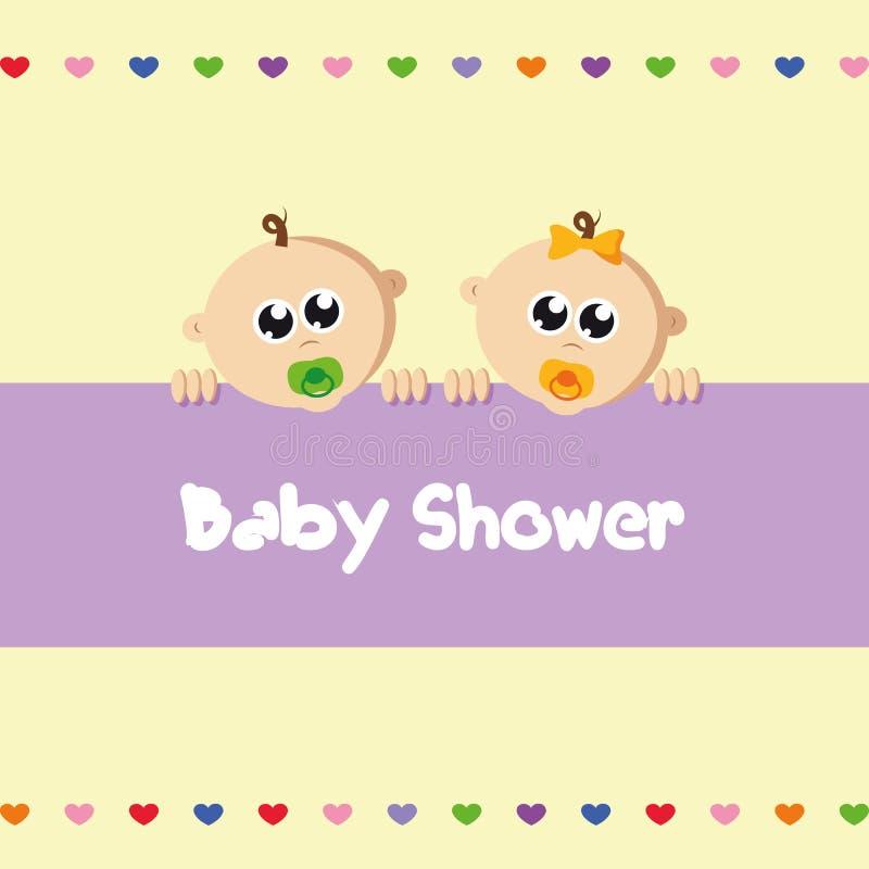 Jumeaux nouveau-nés mignons garçon et fille de bébé illustration stock