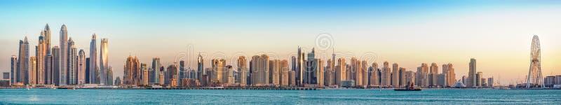 Jumeirah海滩胜地全景,迪拜, 1月 2018年 库存图片