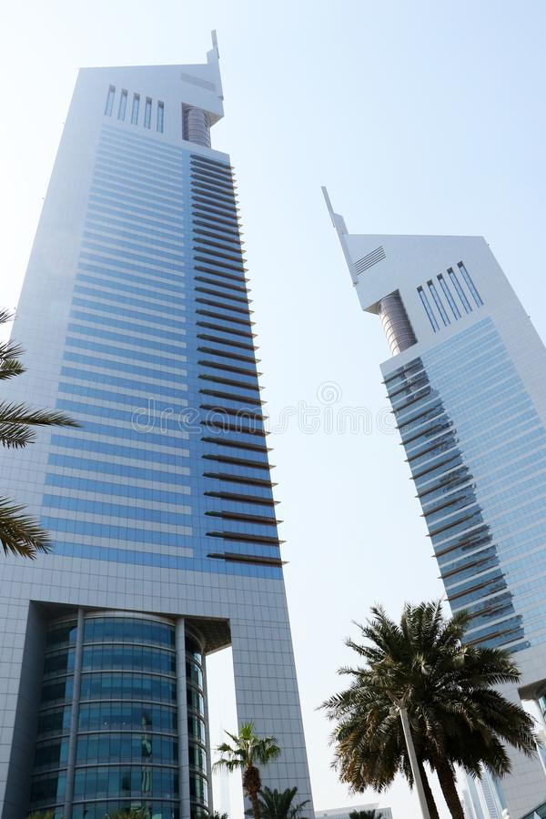 Jumeirah Emirates Towers Hotel in Dubai UAE on Sep 29 2017. Beautiful architecture twinning building in Dubai. Luxurious hotel. Shorter tower has 54 floors and stock image