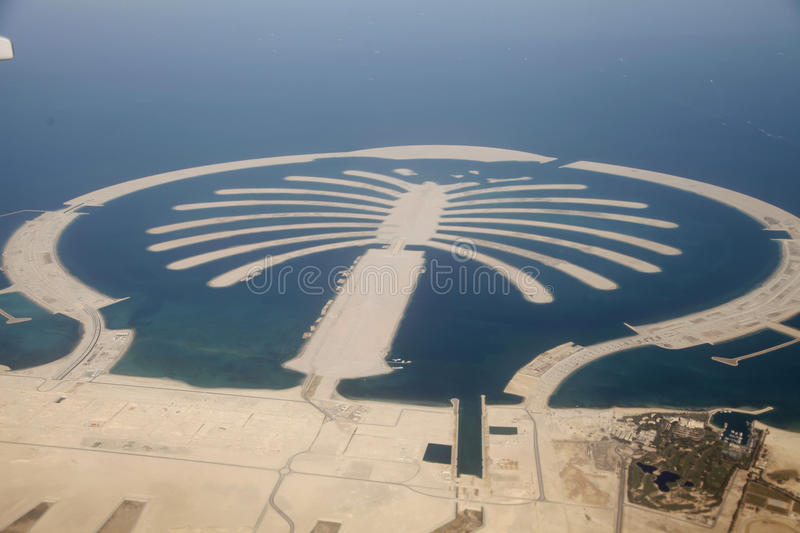 Jumeirah Palm Island In Dubai. Jumeirah Palm Island Development In Dubai stock images