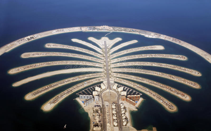 Jumeirah Palm Island In Dubai royalty free stock images