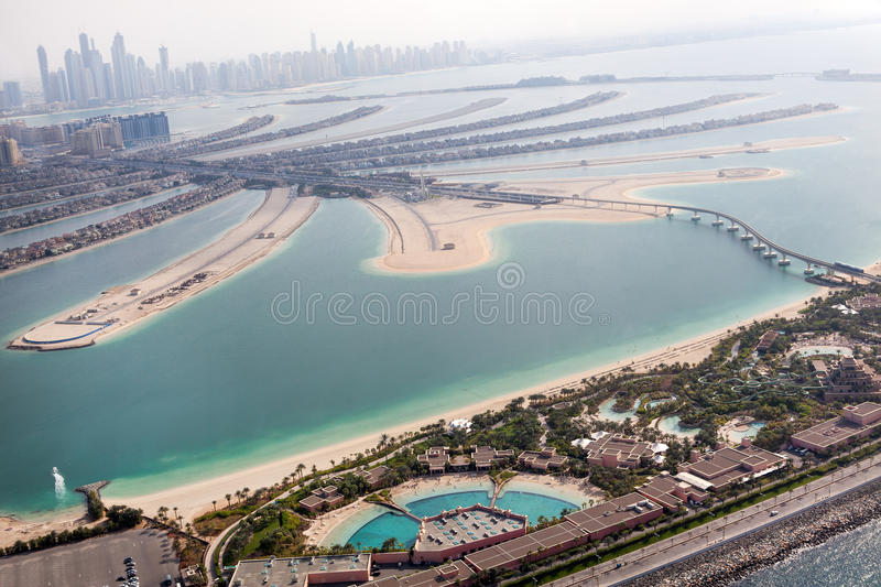 Jumeirah Palm island in Dubai with skyscrappers stock image