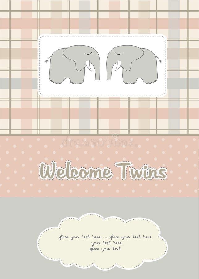Jumelle la carte de douche de chéri avec deux éléphants illustration de vecteur