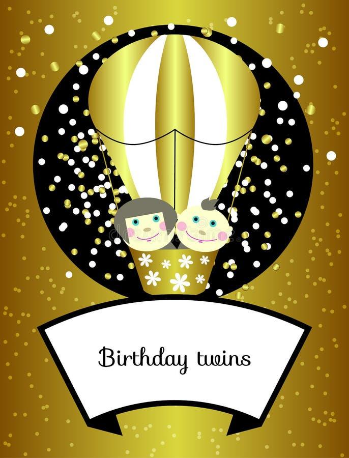 Jumelle le vecteur d'anniversaire illustration stock