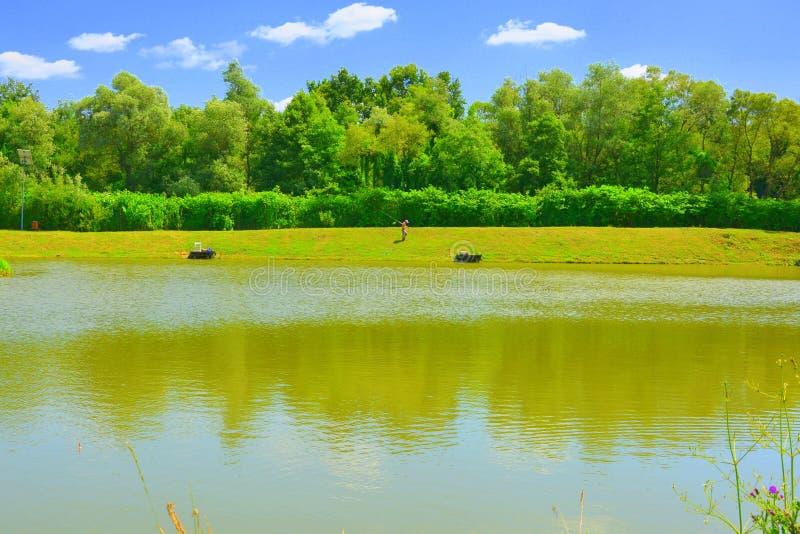 Jument d'Aita de lac Paysage rural typique dans les plaines de la Transylvanie, Roumanie images libres de droits