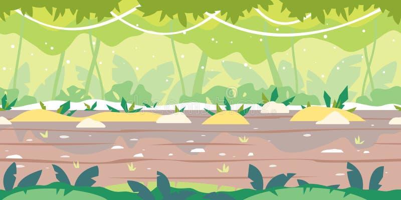 Jumgle Forest Game Background Flat Landscape lizenzfreie abbildung
