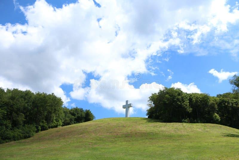 Jumonville Cross. Since 1950 a steel cross 60 feet high has stood on a concrete base six feet tall on Dunbar's Knob, which itself is 2,480 feet above sea stock photography