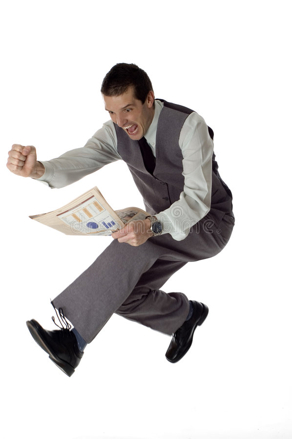 Jump. Business men jumping with newspaper in hands on white- success concept royalty free stock photo