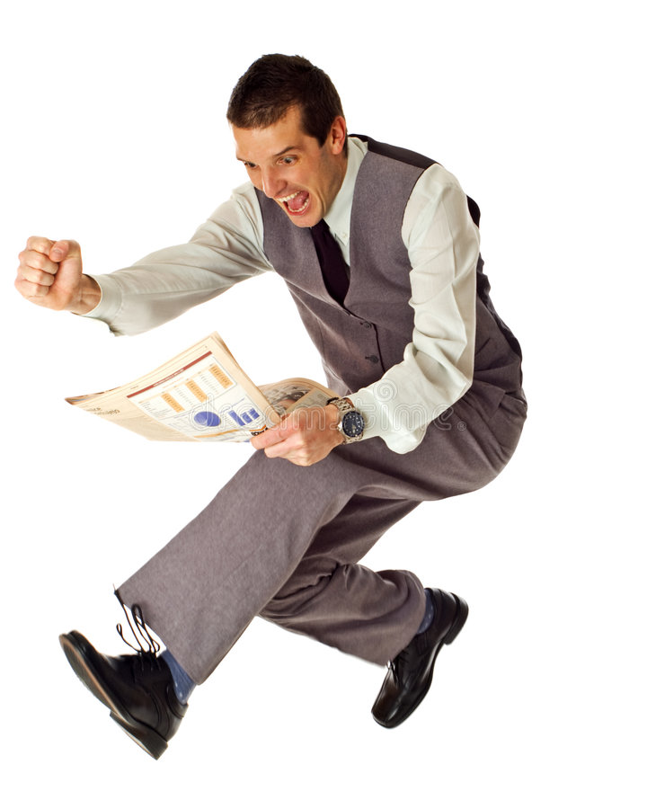 Jump. Business men jumping with newspaper in hands on white - success concept royalty free stock photo
