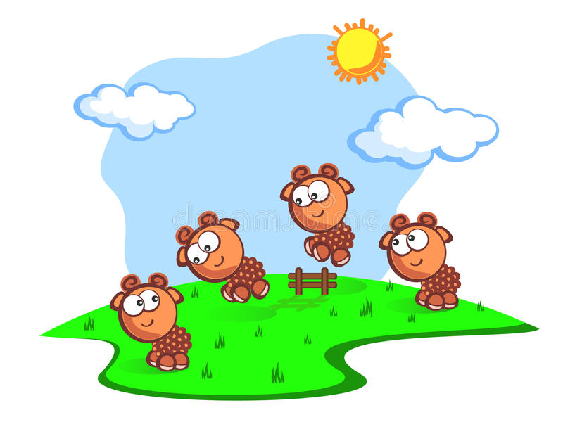 Download Jump baby sheeps stock vector. Image of cartoon, blue - 22100485