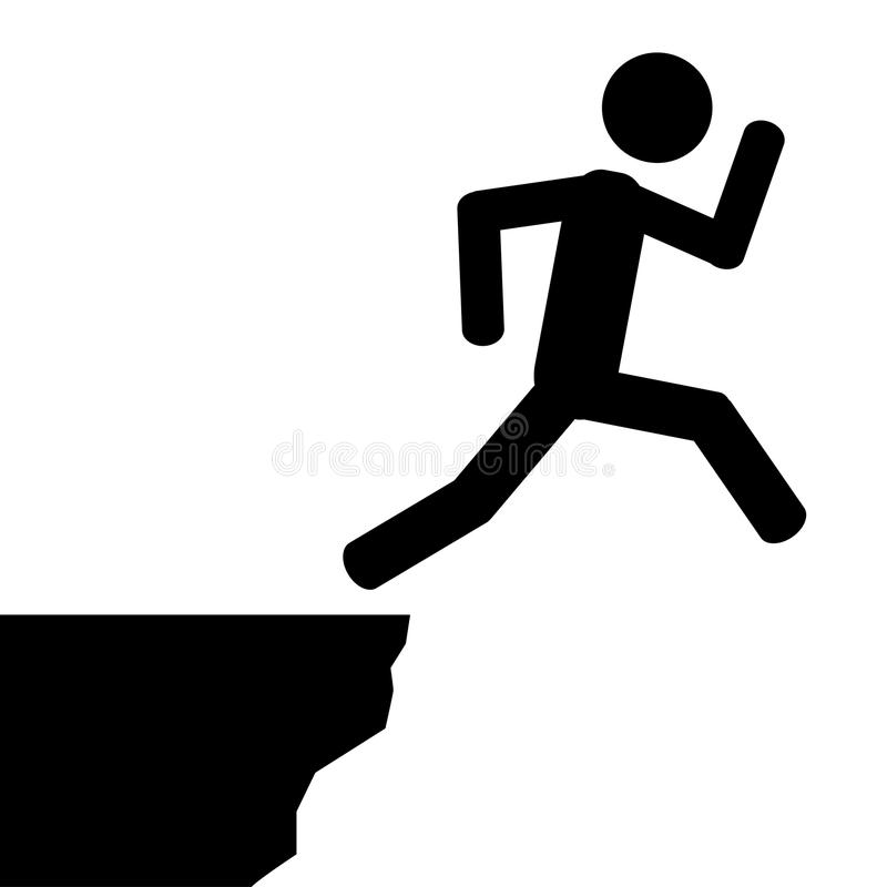 Jump from cliff. A man jumps off the cliff. It is a stick figure vector. EPS10 royalty free illustration
