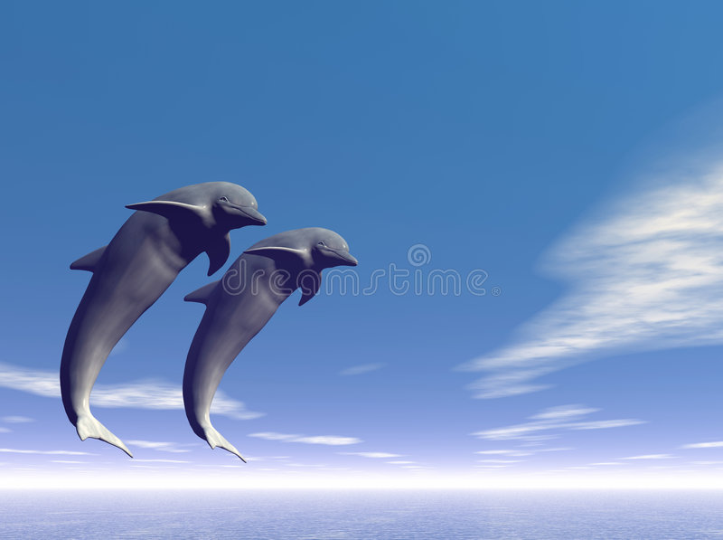 Jump_Dolphin3 royalty free illustration