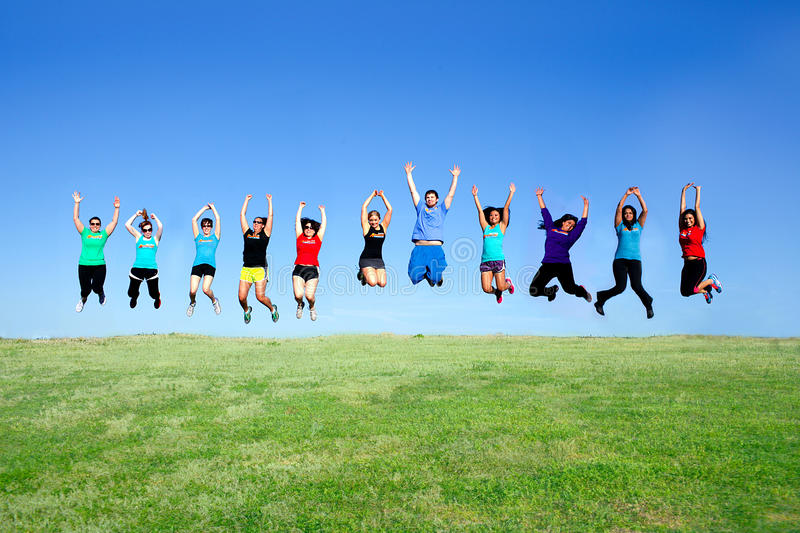 Jump for fitness on a beautiful day stock photography