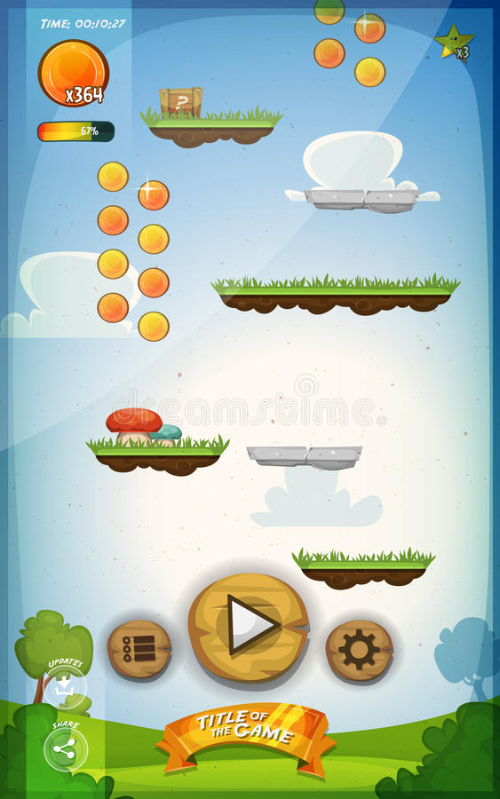 Jump Game User Interface Design For Tablet. Illustration of a funny spring graphic jump game user interface background, in cartoon style with basic buttons and vector illustration