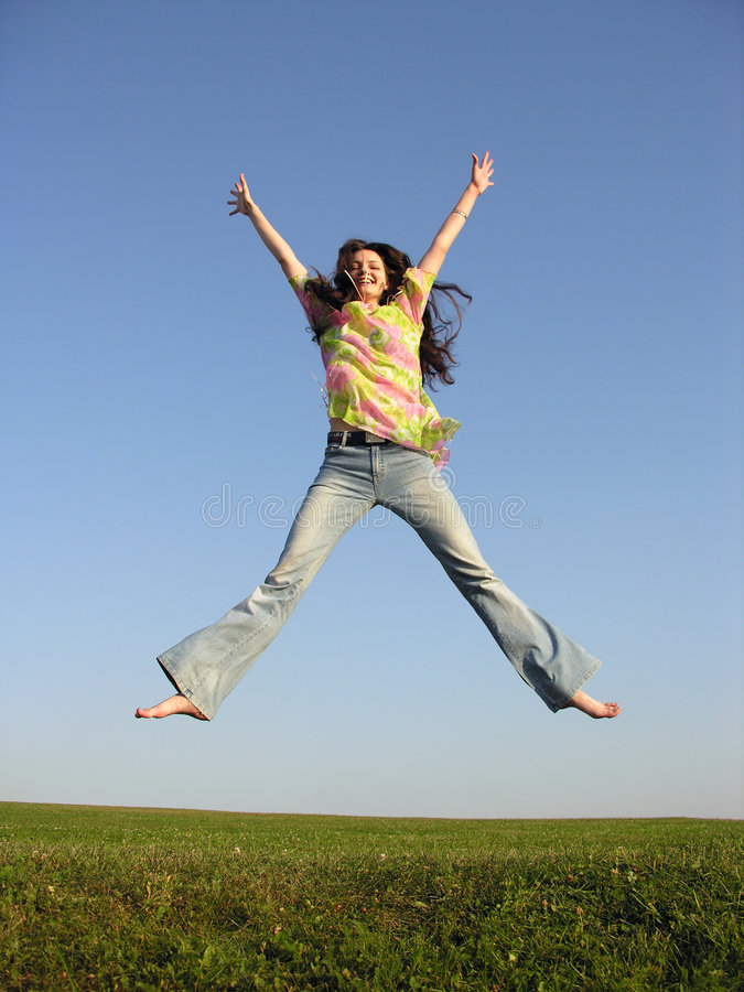 Free Jump Girl With Hair On Sky 2 Stock Image - 241421