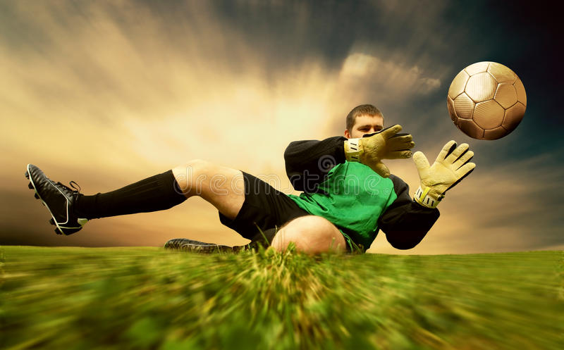 Jump of goalman royalty free stock photography