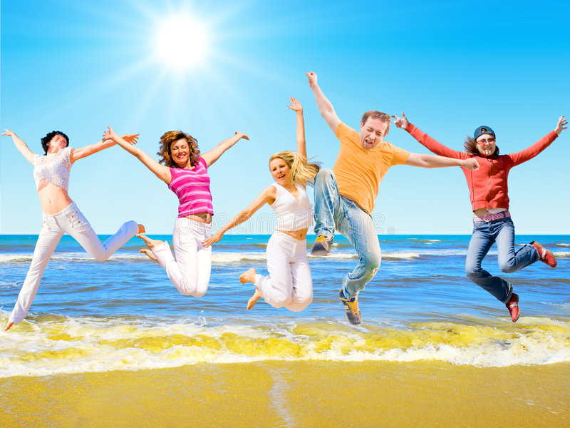 Download Jump of a group of people stock image. Image of office - 8295789