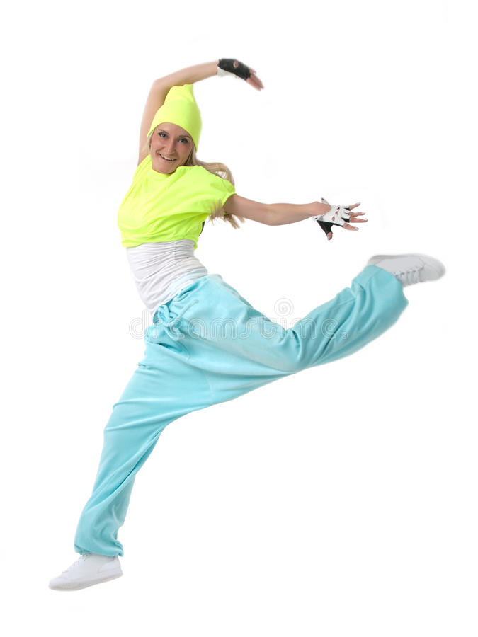 Jump by a hiphop dancer stock photo