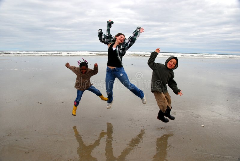 Jump for joy royalty free stock photo