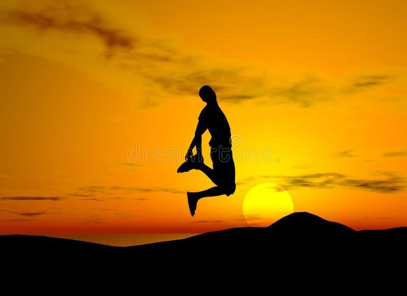 jump of joy sunset background royalty free stock photo