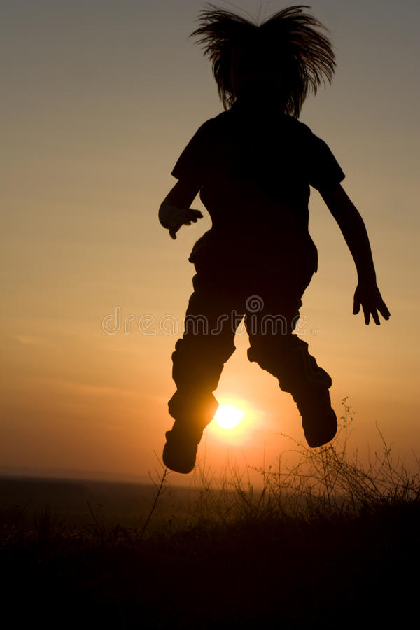 Download Jump Of Little Girl - Silhouette Stock Photo - Image of child, outdoor: 11540368