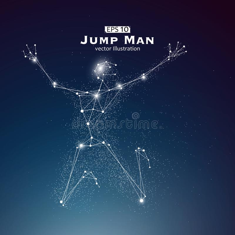Jump Man, dots and lines connected together, a sense of science and technology vector illustration. Jump Man, dots and lines connected together, a sense of stock illustration