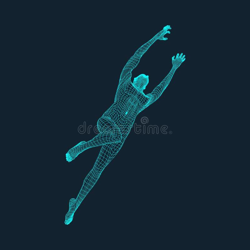 Jump Man. Polygonal Design. 3D Model of Man. Geometric Design. Business, Science and Technology Vector Illustration. 3d Polygonal. Covering Skin. Human Polygon stock illustration