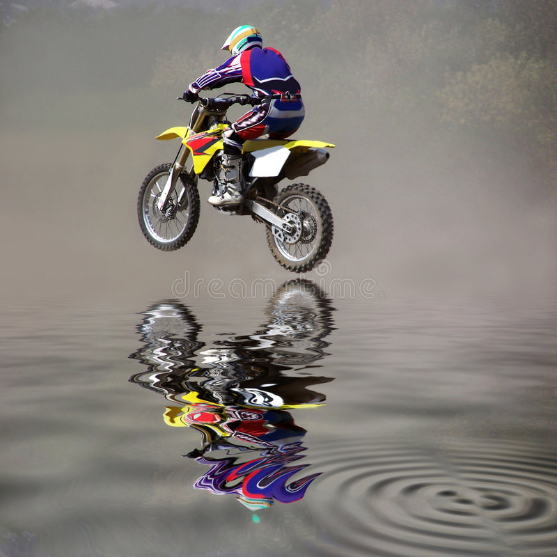 Jump on a motorcycle. stock photography