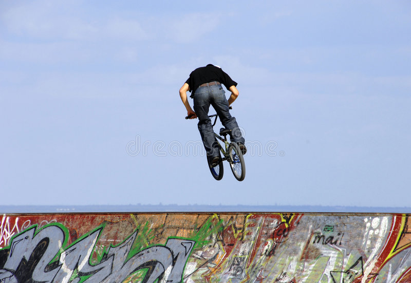 Jump with a mountain bike royalty free stock photography