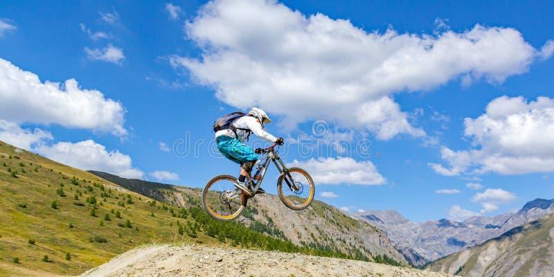 Jump with mountain bike stock photo