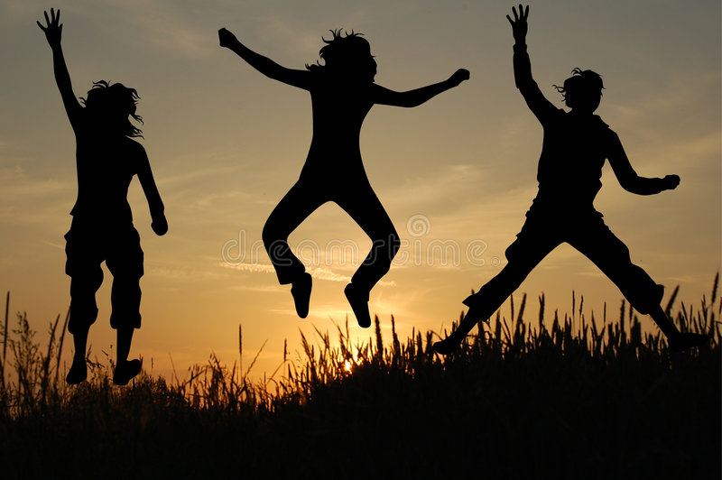 Jump in nature royalty free stock photo