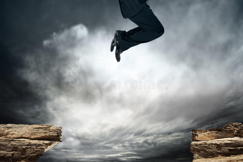 Jump over the obstacle stock illustration