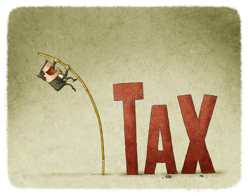 Jump over a tax. Businessman jump over a tax with a pole royalty free illustration