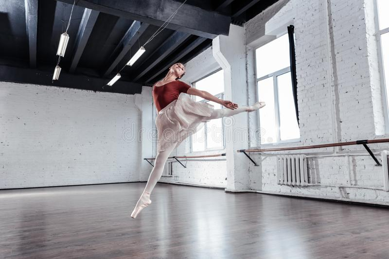 Pleasant beautiful ballet dancer being up in the air. During the jump. Pleasant beautiful ballet dancer being up in the air while jumping royalty free stock photo