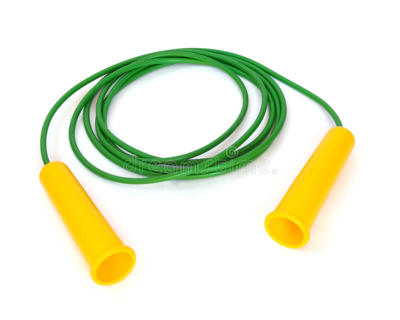 Jump rope. Plastic green jump rope isolated on white royalty free stock images