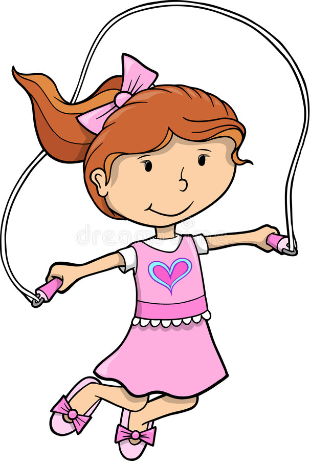 jump rope girl vector stock vector illustration of vector 9205476 rh dreamstime com free jump rope clip art skipping rope clipart black and white