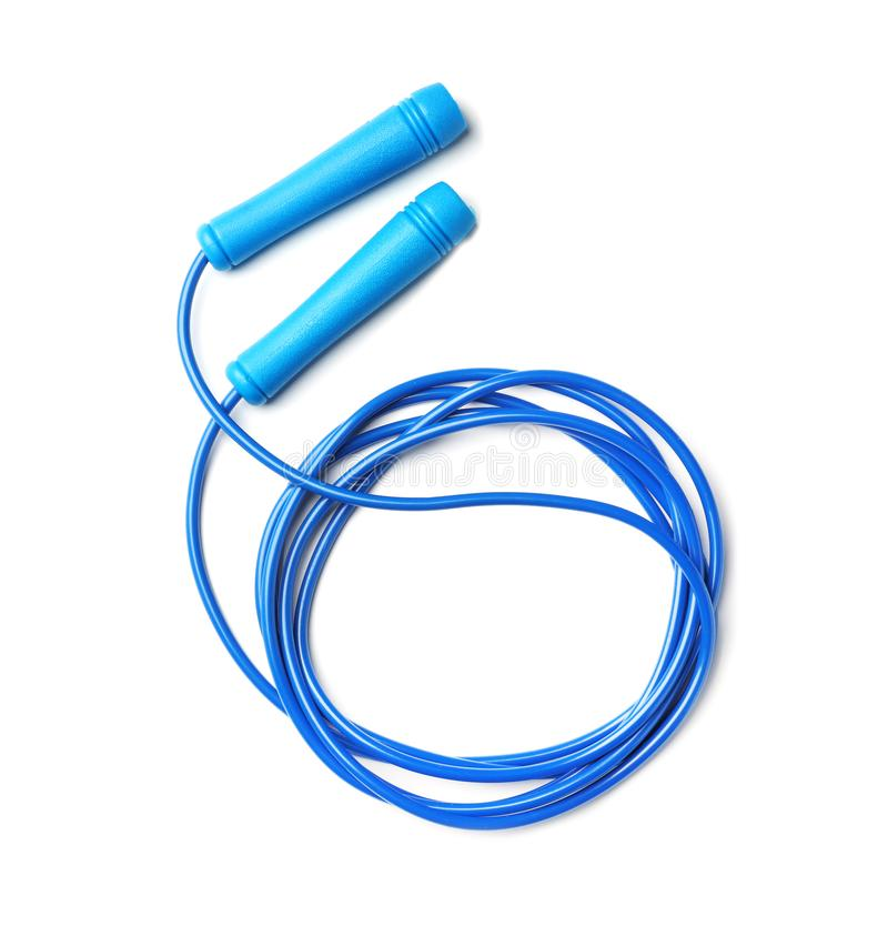 Jump rope on white background. Top view stock images
